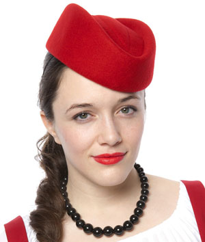 Red Stewardess Pill Box Hat