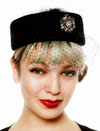 Black Pillbox Hat with Veil and Rhinestone Pin