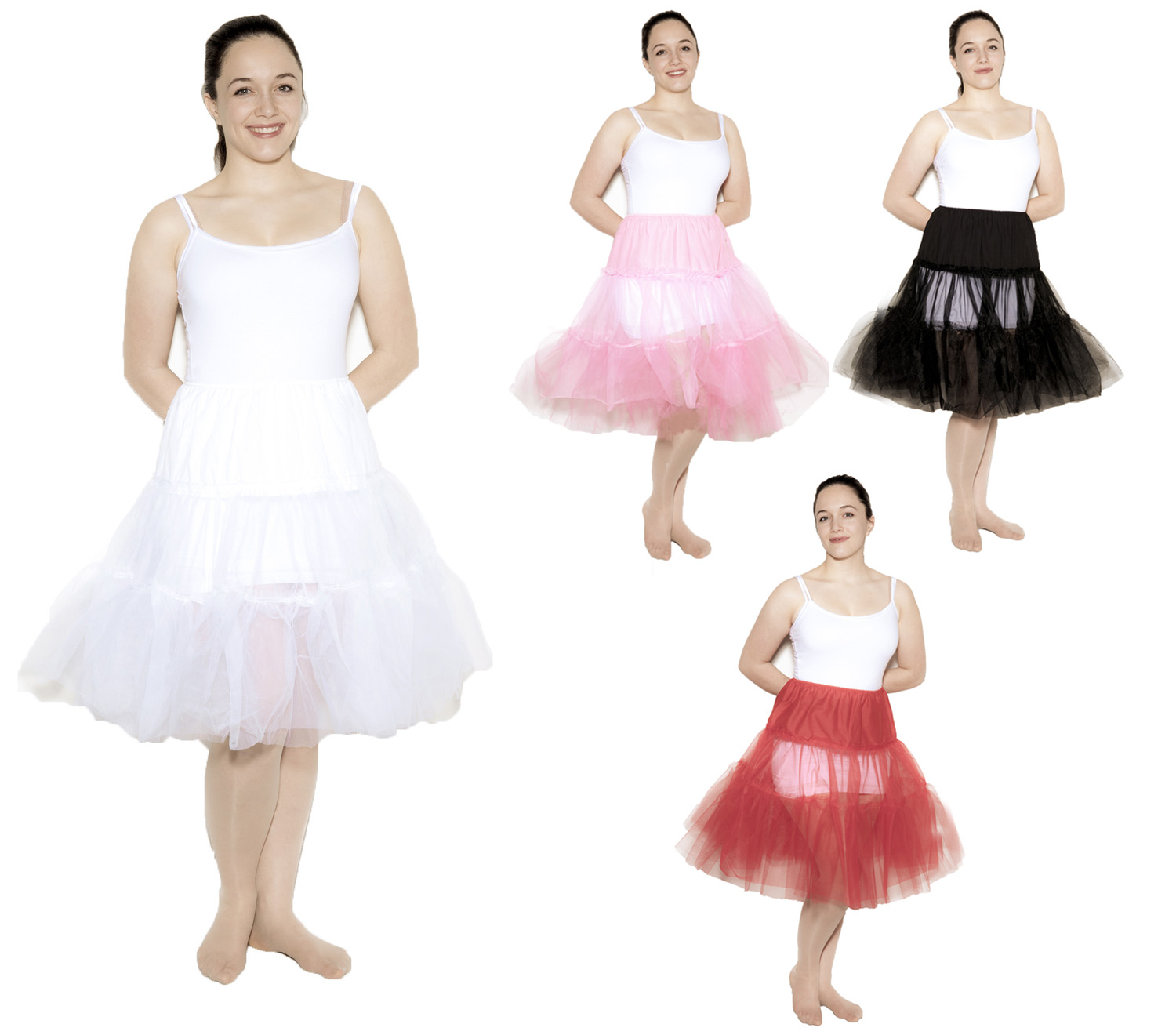 Wholesale Crinolines at Hey Viv ! Child, teen, adult and plus size in white, black, red and pink