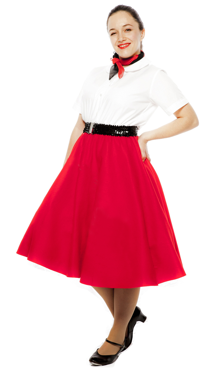 50's Style Red Circle Skirt, Peter Pan Blouse and Scarf at Hey Viv !