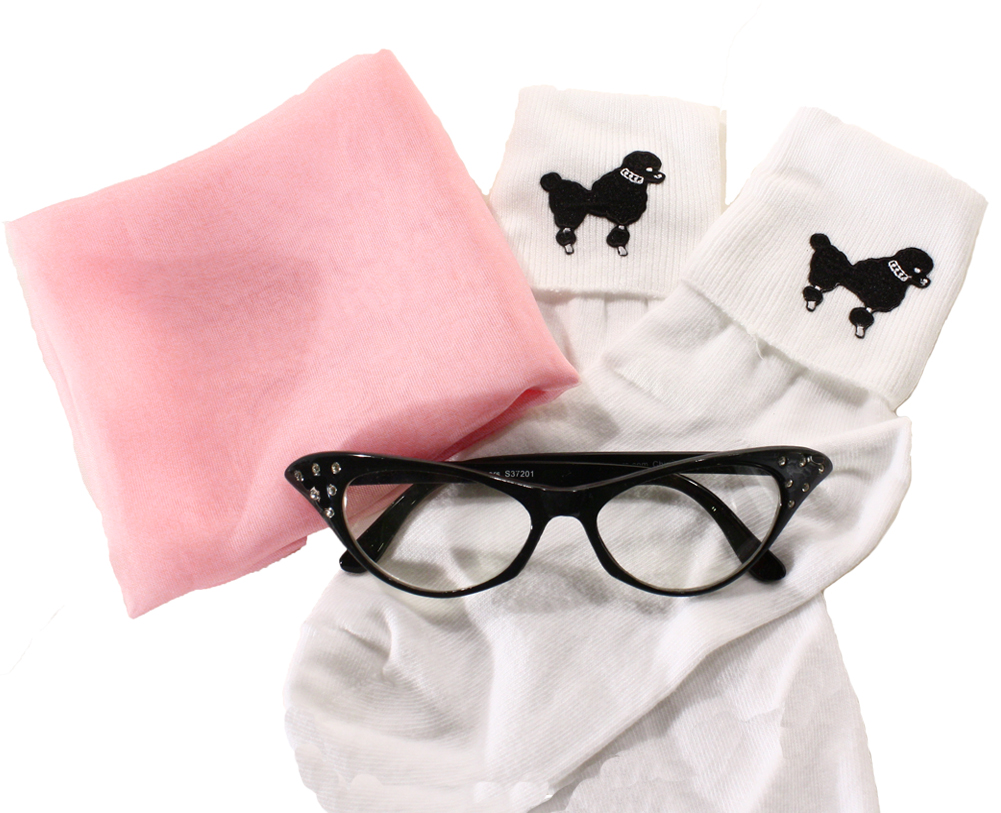 Hey Viv Fun 50s Accessories like Cat Eye Glasses, Poodle Socks,  Sheer Chiffon Belts and Cinch Belts