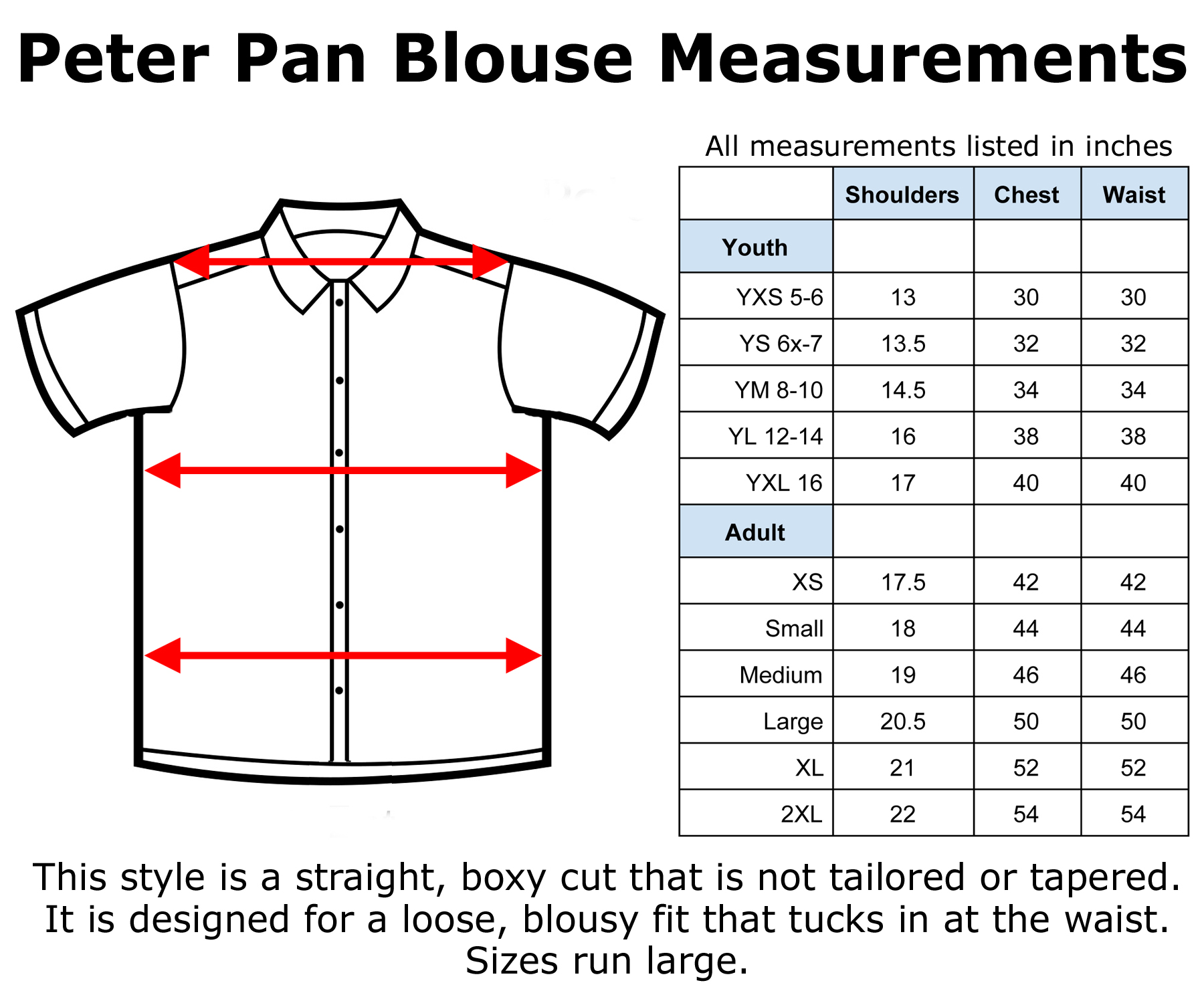 Hey Viv Retro Clothing Peter Pan Blouse Size Chart