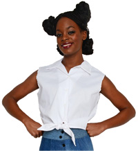 White Sleeveless Tie Blouse at Hey Viv !